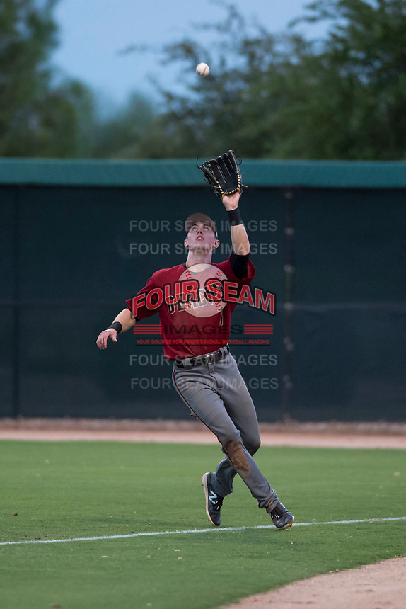 AZL Diamondbacks right fielder Kevin Watson Jr. (7) prepares to catch a fly ball during an Arizona League game against the AZL White Sox at Camelback Ranch on July 12, 2018 in Glendale, Arizona. The AZL Diamondbacks defeated the AZL White Sox 5-1. (Zachary Lucy/Four Seam Images)