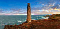 Ruined Chimney of a Cornish Tin Mine, Cornwall