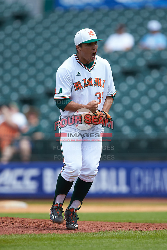 Andrew Cabezas (35) of the Miami Hurricanes reacts after an out in the game against the Georgia Tech Yellow Jackets during game one of the 2017 ACC Baseball Championship at Louisville Slugger Field on May 23, 2017 in Louisville, Kentucky. The Hurricanes walked-off the Yellow Jackets 6-5 in 13 innings. (Brian Westerholt/Four Seam Images)