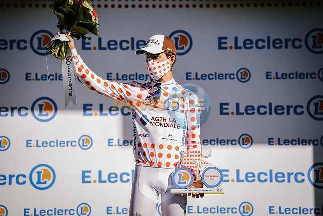 Benoit Cosnefroy (FRA) AG2R La Mondial retains the mountains Polka Dot Jersey at the end of Stage 6 of Tour de France 2020, running 191km from Le Teil to Mont Aigoual, France. 3rd September 2020.<br /> Picture: ASO/Pauline Ballet | Cyclefile<br /> All photos usage must carry mandatory copyright credit (© Cyclefile | ASO/Pauline Ballet)