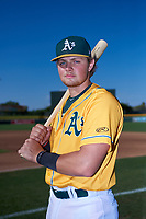 AZL Athletics Gold Matt Cross (6) poses for a photo before an Arizona League game against the AZL Rangers on July 15, 2019 at Hohokam Stadium in Mesa, Arizona. The AZL Athletics Gold defeated the AZL Rangers 9-8 in 11 innings. (Zachary Lucy/Four Seam Images)