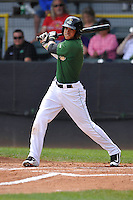 Clinton LumberKings Luis Liberato (2) swings during the Midwest League game against the Beloit Snappers at Ashford University Field on June 12, 2016 in Clinton, Iowa.  The LumberKings won 1-0.  (Dennis Hubbard/Four Seam Images)