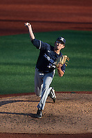 Xavier Musketeers relief pitcher Matt Kent (28) in action against the Charlotte 49ers at Hayes Stadium on March 3, 2017 in Charlotte, North Carolina.  The 49ers defeated the Musketeers 2-1.  (Brian Westerholt/Four Seam Images)