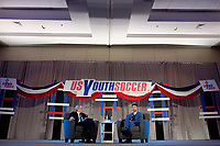 Philadelphia, PA - Saturday January 20, 2018: JP Dellacamera, Kyle Martino during the U.S. Soccer Federation Presidential Election Candidates Forum hosted by US Youth Soccer at the Philadelphia Marriott Downtown Grand Ballroom.