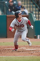 Jesse Franklin V (33) of the Rome Braves starts down the first base line against the Greensboro Grasshoppers at First National Bank Field on May 16, 2021 in Greensboro, North Carolina. (Brian Westerholt/Four Seam Images)
