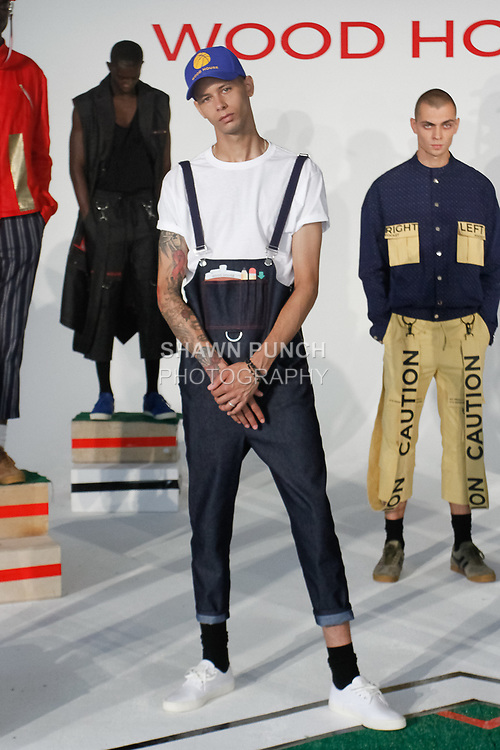 Models pose in outfits from the Wood House Spring Summer 2018 collection by Julian Woodhouse, for New York Mens Day at Dune Studios on July 10, 2017; duing New York Fashion Week: Mens Spring Summer 2018.