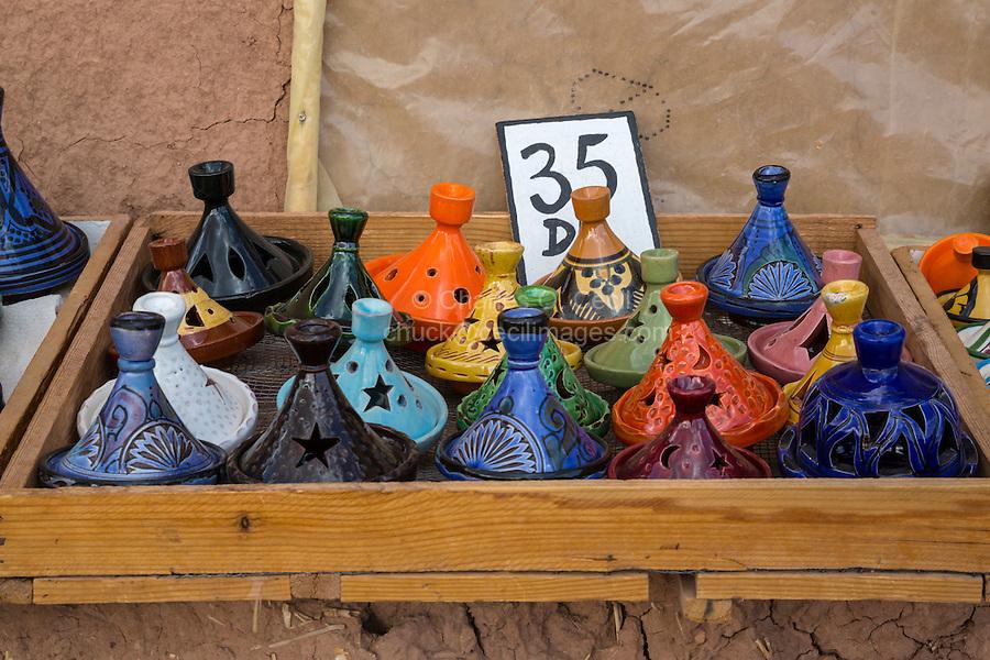 Morocco.  Souvenir Miniature Tajines, Ait Benhaddou Ksar, a World Heritage Site.