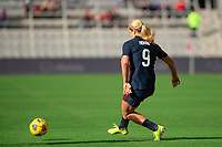 ORLANDO CITY, FL - FEBRUARY 21: Lindsey Horan #9 of the USWNT passes the ball during a game between Brazil and USWNT at Exploria Stadium on February 21, 2021 in Orlando City, Florida.