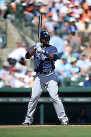 Tampa Bay Rays outfielder Joey Butler (65) during a Spring Training game against the Baltimore Orioles on March 14, 2015 at Ed Smith Stadium in Sarasota, Florida.  Tampa Bay defeated Baltimore 3-2.  (Mike Janes/Four Seam Images)