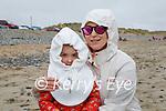Eva and Julia Tarakolkov enjoying the beach in Banna on Saturday.