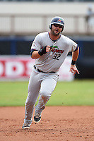 Fort Myers Miracle first baseman MIke Gonzales (32) runs the bases during a game against the Charlotte Stone Crabs on April 16, 2014 at Charlotte Sports Park in Port Charlotte, Florida.  Fort Myers defeated Charlotte 6-5.  (Mike Janes/Four Seam Images)