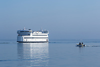 A Steamship Authority ferry leaves Vineyard Haven Harbor on Martha's Vineyard headed for Woods Hole on the mainland.
