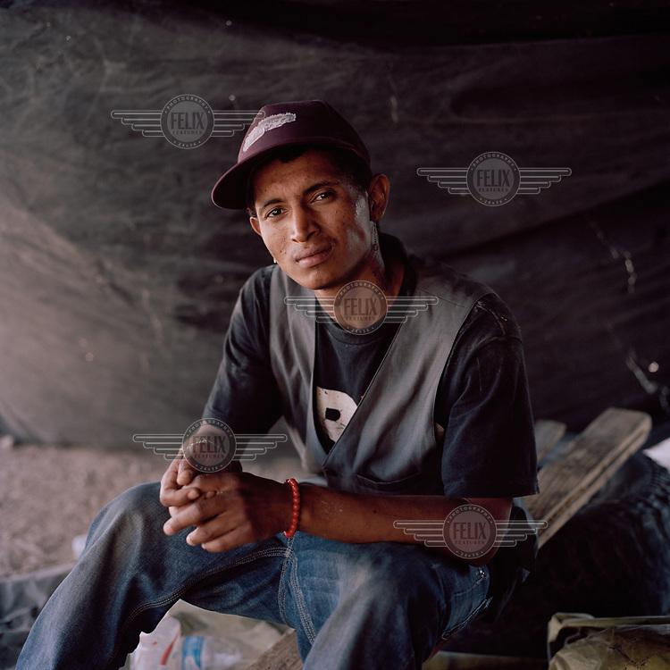 A central American migrant outside a migrant shelter in Sonoyta.