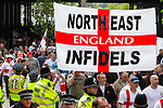 © Joel Goodman - 07973 332324 - all rights reserved . 01/05/2010 . Aylesbury , UK . North East Infidels flag . The English Defence League ( EDL ) hold a demonstration in Aylesbury . Photo credit : Joel Goodman