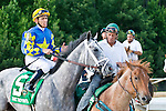 20 June 2009: Garrett Gomez and Take the Points before the Colonial Turf Cup (Gr II) stakes race.
