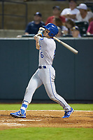 Michael Massey (6) of the Burlington Royals follows through on his swing against the Pulaski Yankees at Calfee Park on August 31, 2019 in Pulaski, Virginia. The Yankees defeated the Royals 6-0. (Brian Westerholt/Four Seam Images)