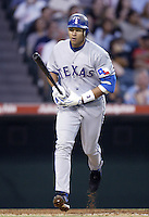 Alex Rodriguez of the Texas Rangers bats during a 2002 MLB season game against the Los Angeles Angels at Angel Stadium, in Los Angeles, California. (Larry Goren/Four Seam Images)