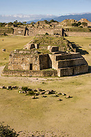 Monte Alban, Oaxaca, Mexico.  Zapotec Capital Ruins, 300A.D.-700A.D.  Observatory in foreground, Grand Plaza, North Platform in rear.