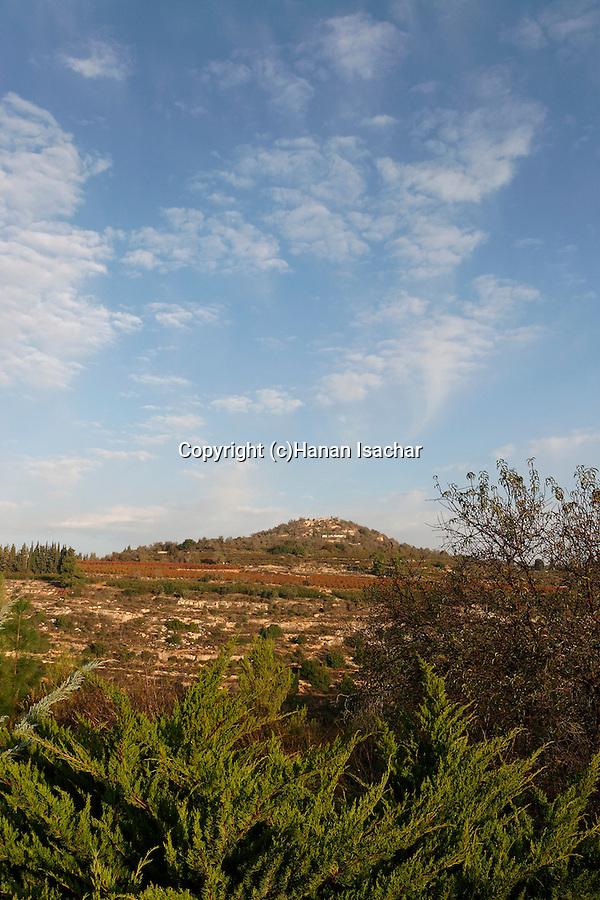 Israel, Jerusalem Mountains. A view of Mount Tzuba from Mount Eitan