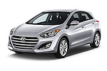 2017 Hyundai Elantra Gt 5 Door Hatchback angular front stock photos of front three quarter view