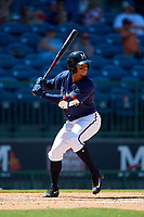 Mississippi Braves Ray-Patrick Didder (13) at bat during a Southern League game against the Jacksonville Jumbo Shrimp on May 5, 2019 at Trustmark Park in Pearl, Mississippi.  Mississippi defeated Jacksonville 1-0 in ten innings.  (Mike Janes/Four Seam Images)