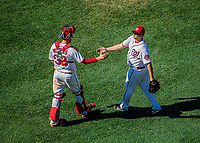 9 July 2017: Washington Nationals pitcher Matt Albers greets catcher Matt Wieters after the final out against the Atlanta Braves at Nationals Park in Washington, DC. The Nationals defeated the Atlanta Braves to split their 4-game series going into the All-Star break. Mandatory Credit: Ed Wolfstein Photo *** RAW (NEF) Image File Available ***
