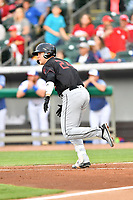 Birmingham Barons first baseman Gavin Sheets (24) runs to first base during a game against the Tennessee Smokies at Smokies Stadium on May 15, 2019 in Kodak, Tennessee. The Smokies defeated the Barons 7-3. (Tony Farlow/Four Seam Images)