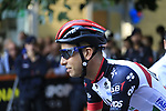 Fabio Aru (ITA) UAE Team Emirates arrives at sign on before the start of the 99th edition of Milan-Turin 2018, running 200km from Magenta Milan to Superga Basilica Turin, Italy. 10th October 2018.<br /> Picture: Eoin Clarke | Cyclefile<br /> <br /> <br /> All photos usage must carry mandatory copyright credit (© Cyclefile | Eoin Clarke)