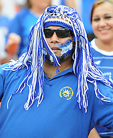 Fan from El Salvador supporting the team.  El Salvador National Team defeated Venezuela 3-2 in an international friendly at RFK Stadium, Sunday August 7, 2011.