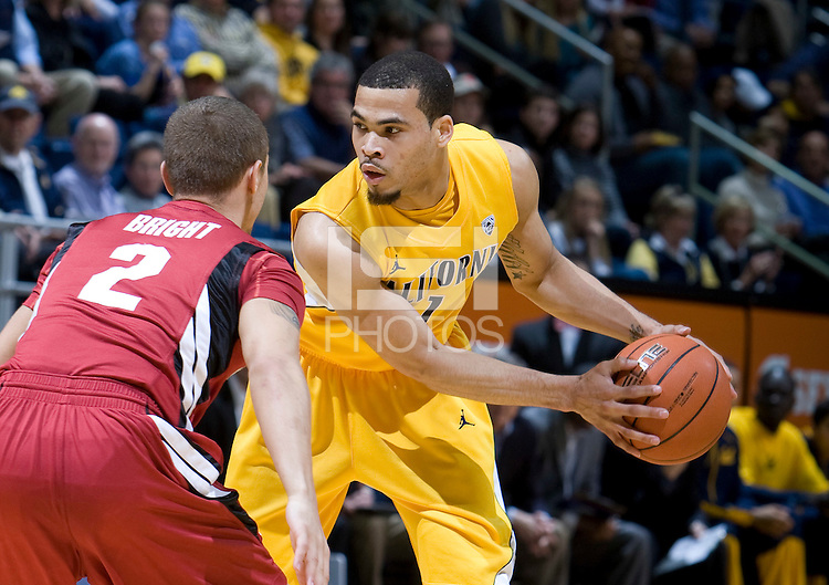 Justin Cobbs of California controls the ball during the game against Stanford at Haas Pavilion in Berkeley, California on January  29th, 2012.   California defeated Stanford, 69-59.