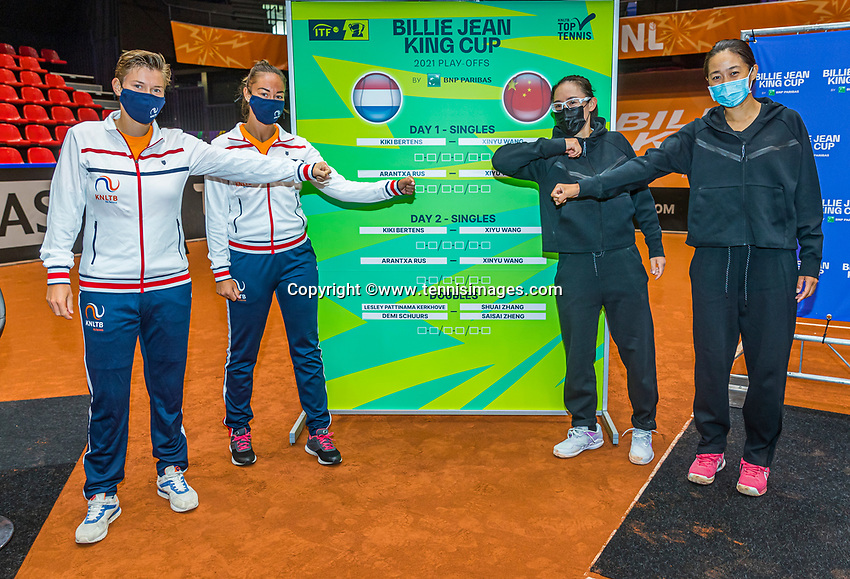 Den Bosch, The Netherlands, April 15, 2021,    Maaspoort, Billy Jean King Cup  Netherlands -  China : Draw ,   Doubles: Demi Schuurs and Lesley Pattinama (NED) (L) and Shuai Zhang and Saisai Zheng (CHE)<br /> Photo: Tennisimages/Henk Koster