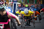 © Joel Goodman - 07973 332324 . 22/05/2016 . Manchester , UK . Start of elite wheelchair race . The Great Manchester Run in Manchester City Centre . Photo credit : Joel Goodman