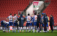 16th February 2021; Ashton Gate Stadium, Bristol, England; English Football League Championship Football, Bristol City versus Reading; Reading team huddle after the match to discuss their win