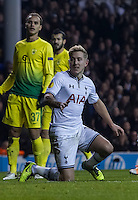 12.12.2013 London, England. Tottenham Hotspur forward Lewis Holtby (14) celebrates his goal during the Europa League game between Tottenham Hotspur and Anzhi Makhachkala from White Hart Lane.