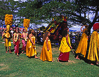 The King and his Royal Court parade thru the town of Lihue,on the island of Kauai for the commencement of the annual Aloha Week celebration.
