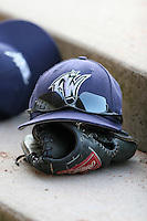 Fort Wayne Wizards hat with sunglasses on top of a glove in the dugout during a Midwest League game at Memorial Stadium on July 17, 2006 in Fort Wayne, Indiana.  (Mike Janes/Four Seam Images)