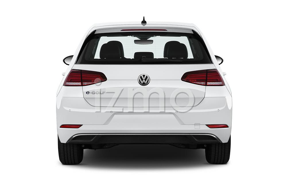 Straight rear view of a 2019 Volkswagen e-Golf SEL Premium 5 Door Hatchback stock images