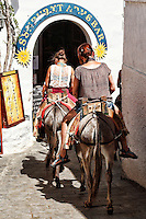 The donkeys are the means of transport in the village of Lindos in Rhodes, Greece.