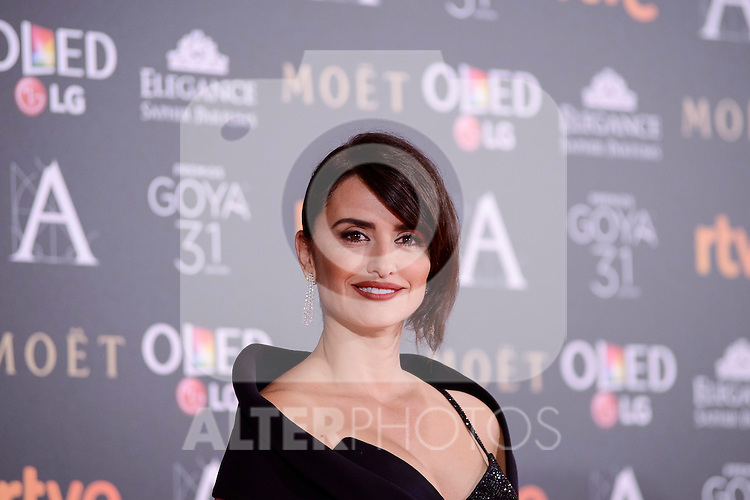 Penelope Cruz attends to the Red Carpet of the Goya Awards 2017 at Madrid Marriott Auditorium Hotel in Madrid, Spain. February 04, 2017. (ALTERPHOTOS/BorjaB.Hojas)