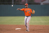 AZL Giants Orange second baseman Wascer De Leon (34) makes a throw to first base during an Arizona League game against the AZL Athletics at Lew Wolff Training Complex on June 25, 2018 in Mesa, Arizona. AZL Giants Orange defeated the AZL Athletics 7-5. (Zachary Lucy/Four Seam Images)