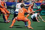 The Hague, Netherlands, June 13: Jelle Galema #20 of The Netherlands tries to score during the field hockey semi-final match (Men) between The Netherlands and England on June 13, 2014 during the World Cup 2014 at Kyocera Stadium in The Hague, Netherlands. Final score 1-0 (1-0)  (Photo by Dirk Markgraf / www.265-images.com) *** Local caption *** Dan Fox #27 of England, Jelle Galema #20 of The Netherlands
