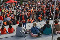 Finale de la Marche pour la Réconciliation, le 30 septembre 2021, sur le parvis de la Place des arts.<br /> <br /> Il s'agit de la 1ere journée de commémoration des enfants des pensionnats.<br /> <br /> En photo : Le Chef Ghislain Picard <br /> PHOTO : Agence Quebec Presse