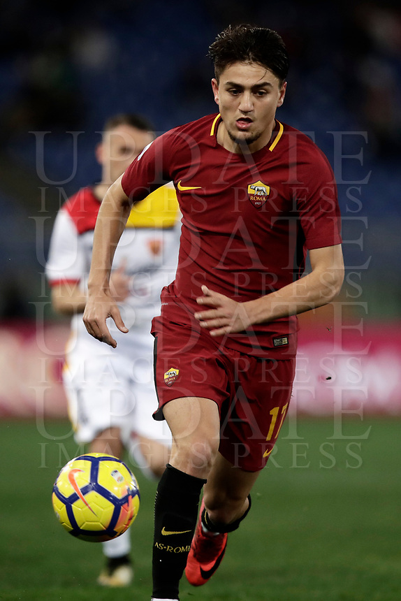 Calcio, Serie A: AS Roma - Benevento, Roma, stadio Olimpico, 11 gennaio 2018.<br /> Roma's Cengiz Under in action during the Italian Serie A football match between AS Roma and Benevento at Rome's Olympic stadium, February 11, 2018.<br /> UPDATE IMAGES PRESS/Isabella Bonotto