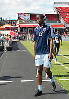 August 18, 2012: Sporting KC defender Lawrence Olum #13 in action during the warm-up in an MLS game between Toronto FC and Sporting Kansas City at BMO Field in Toronto, Ontario Canada..Sporting Kansas City won 1-0.