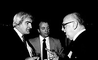 Jean-Roch Boivin (L) and Jean Drapeau (R) attend the Rene Levesque tribute at Montreal's convention centre, October 2nd,1985.<br /> <br /> File Photo : Agence Quebec Presse - Pierre Roussel