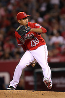 Ernesto Frieri #49 of the Los Angeles Angels pitches against the New York Yankees at Angel Stadium on May 29, 2012 in Anaheim,California. Los Angeles defeated New York 5-1.(Larry Goren/Four Seam Images)