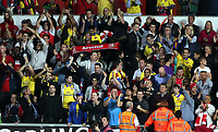 Saturday 28 September 2013<br /> Pictured: Arsenal supporters celebrating their win<br /> Re: Barclay's Premier League, Swansea City FC v Arsenal at the Liberty Stadium, south Wales.