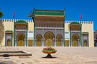Fes, Morocco.  Gateway to the Dar El Makhsen, the King's Palace, Fes El Jedid.