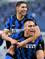 Achraf Hakimi of FC Internazionale celebrates with Lautaro Martinez after scoring the goal of 1-2 during the Serie A football match between AS Roma and FC Internazionale at Olimpico stadium in Roma (Italy), January 10th, 2021. Photo Andrea Staccioli / Insidefoto