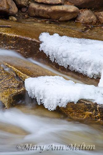 Colorado, winter, Chalk Creek Cascade Falls, icy stream, snow